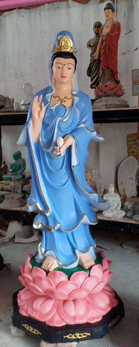 tượng phật bà quan âm đứng đài sen composite